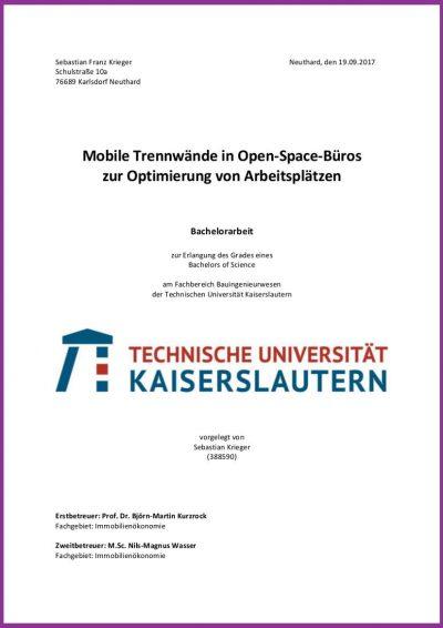 Mobile Trennwände in Open-Space-Büros Bachelorarbeit von Sebastian Krieger Auri Akustik Dr.-Ing. Benedikt Kohout