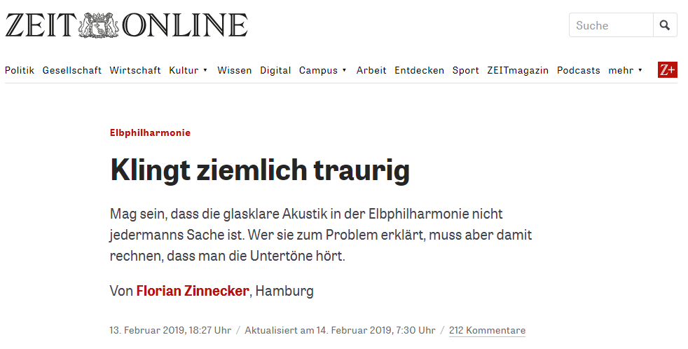 Elbphilharmonie Zeit Kritik Auri Akustik